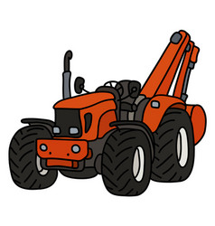 The orange tractor with a small excavator vector