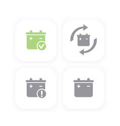 Battery icons replacement warning signs vector