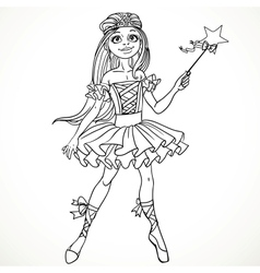 Cute dancing ballerina fairy black outline for vector
