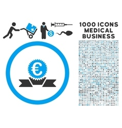 Euro Award Ribbon Icon with 1000 Medical Business vector image vector image