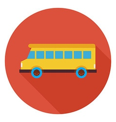 Flat Transportation School Bus Circle Icon with vector image vector image