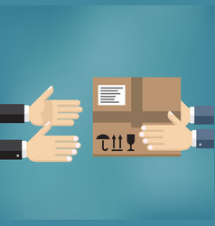hands giving cardboard package to another hands vector image