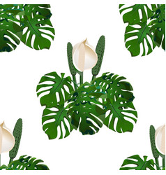 jungle green tropical leaf and monster flowers vector image vector image