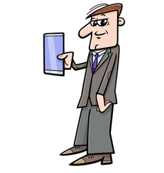 man with phablet vector image
