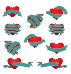 Set of Heart and Ribbon Dark blue vector image