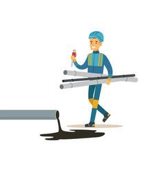 Builder worker repairing industrial oil pipeline vector