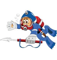 Cartoon diver vector image
