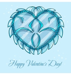 happy valentines day cards with ice heart vector image vector image
