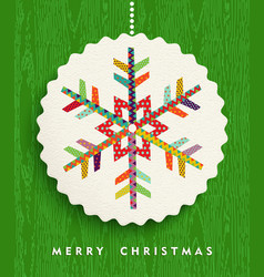 Merry christmas snowflake design in happy colors vector image