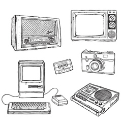 Old media equipment vector image vector image