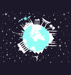 planet earth in space world landmarks of vector image vector image