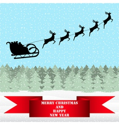 Santa Claus riding on a reindeer in the forest vector image vector image