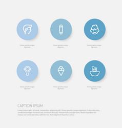 set of 6 editable family outline icons includes vector image vector image