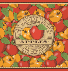 vintage red apple label on seamless pattern vector image