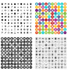 100 college icons set variant vector