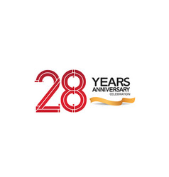 28 years anniversary template with red color vector