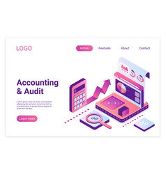 Accounting and audit isometric landing page vector