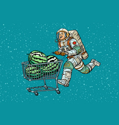 astronaut buys watermelons shopping cart trolley vector image