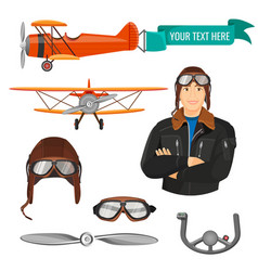 Aviation transport and worker colorful poster vector