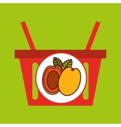 Basket shopping apricot tasty fruit vector