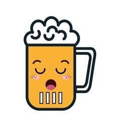 Beer glass kawaii style vector