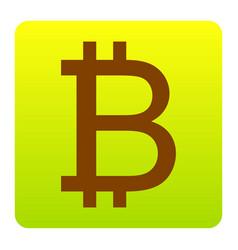 bitcoin sign brown icon at green-yellow vector image