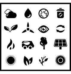 Black ecology icons icon set vector image