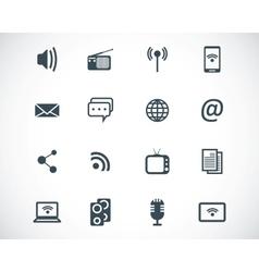 Black media icons set vector