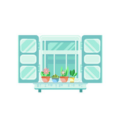 Blue retro window with shutters and flowerpots vector