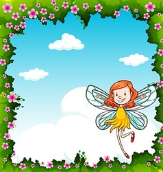 Border design with fairy flying in the sky vector image