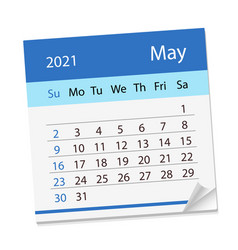 Calendar sheet for month may 2021 vector