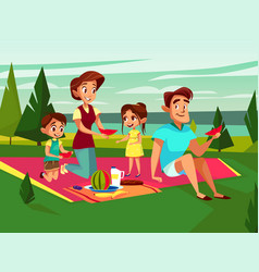 Cartoon caucasian family at picnic party vector