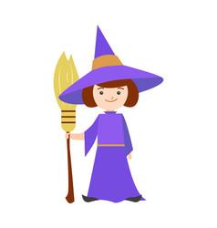 cartoon halloween kid costume girl witch vector image