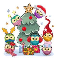 cartoon owls near christmas tree vector image
