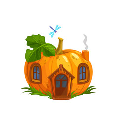 cartoon ripe pumpkin gnome or elf house vector image