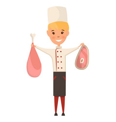 child in a cook cap holding meat in hand logo vector image