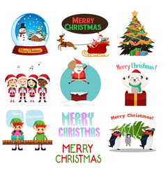 Christmas icons and cliparts vector
