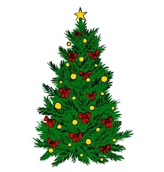 Christmas tree sketch vector