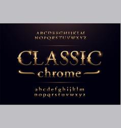 classic alphabet gold metallic and effect designs vector image
