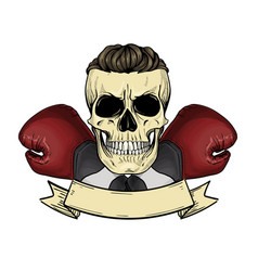 Color angry skull with boxing gloves vector