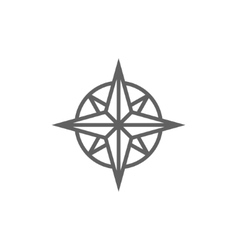 Compass wind rose line icon vector