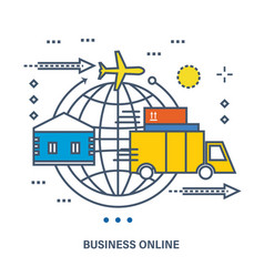 Concept of business online e-commerce delivery vector