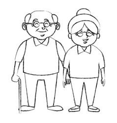 cute grandparents couple cartoon vector image