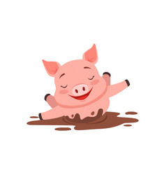 Cute happy pig bathing in a dirty pool funny vector