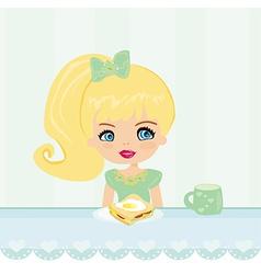 Cute little girl eating breakfast in the kitchen vector