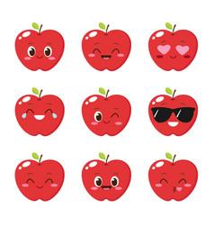 Cute red apple emoticon set vector