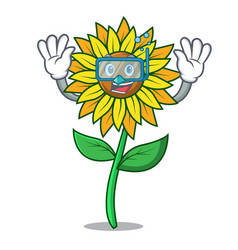 diving sunflower character cartoon style vector image