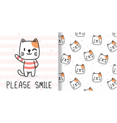 Draw happy cat print seamless pattern vector