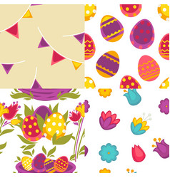 eggs and flowers easter seamless patterns spring vector image