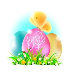 Eggs in grass with happy easter words vector image